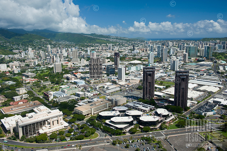 Aerial of Kakaako to Manoa with Waterfront Plaza and Federal Bldg in foreground