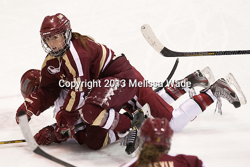 Hilary Hayssen (Harvard - 4), Caitlin Walsh (BC - 11) - The Boston College Eagles defeated the Harvard University Crimson 2-1 in the 2013 Beanpot opening round on Tuesday, February 5, 2013, at Matthews Arena in Boston, Massachusetts.