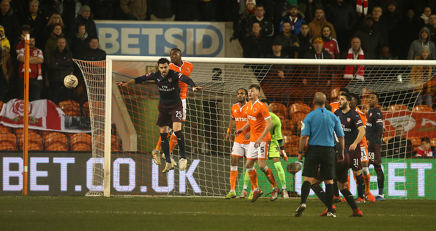 Blackpool's Donervon Daniels defends against Arsenal's Carl Jenkinson<br /> <br /> Photographer Stephen White/CameraSport<br /> <br /> Emirates FA Cup Third Round - Blackpool v Arsenal - Saturday 5th January 2019 - Bloomfield Road - Blackpool<br />  <br /> World Copyright © 2019 CameraSport. All rights reserved. 43 Linden Ave. Countesthorpe. Leicester. England. LE8 5PG - Tel: +44 (0) 116 277 4147 - admin@camerasport.com - www.camerasport.com