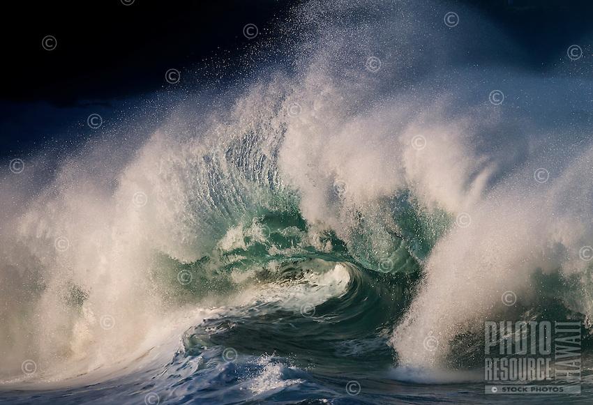 At winter, the Banzai Pipeline's shorebreak waves can reach 20 feet or higher off of Ehukai Beach Park, North Shore of O'ahu.