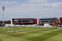 Play is suspended as the air ambulance arrives to attend a medical emergency during Lancashire CCC vs Essex CCC, Specsavers County Championship Division 1 Cricket at Emirates Old Trafford on 11th June 2018