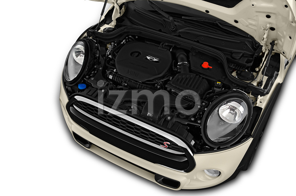 Car Stock 2019 MINI Hardtop-4-Door Cooper-S 5 Door Hatchback Engine  high angle detail view
