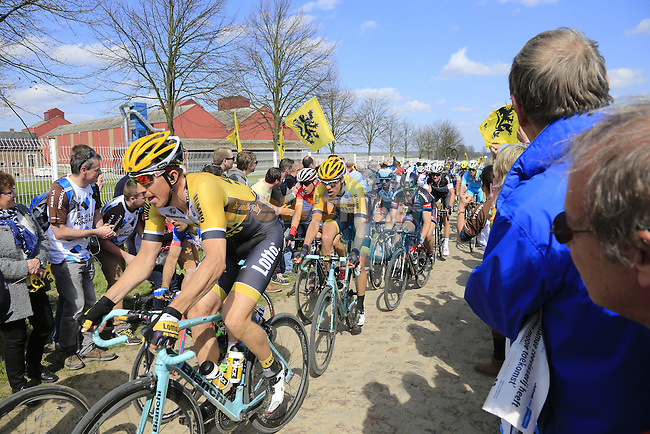 The peloton including Sep Vanmarcke (BEL) Lotto Nl-Jumbo tackle Sector 10 Mons-en-Pevele during the 113th edition of the Paris-Roubaix 2015 cycle race held over the cobbled roads of Northern France. 12th April 2015.<br /> Photo: Eoin Clarke www.newsfile.ie