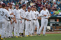 Mississippi State Bulldogs introductions before Game 1 of the 2013 Men's College World Series Finals against the UCLA Bruins on June 24, 2013 at TD Ameritrade Park in Omaha, Nebraska. The Bruins defeated the Bulldogs 3-1, taking a 1-0 lead in the best of 3 series. (Andrew Woolley/Four Seam Images)