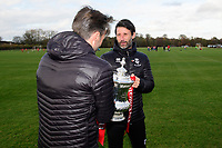 Lincoln City manager Danny Cowley, right, and Lincoln City's assistant manager Nicky Cowley with the Emirates FA Cup at Lincoln City's new Elite Performance Centre<br /> <br /> Photographer Chris Vaughan/CameraSport<br /> <br /> The official opening of Lincoln City's new Elite Performance Centre - Wednesday 7th November 2018 - Scampton, Lincolnshire<br /> <br /> World Copyright © 2018 CameraSport. All rights reserved. 43 Linden Ave. Countesthorpe. Leicester. England. LE8 5PG - Tel: +44 (0) 116 277 4147 - admin@camerasport.com - www.camerasport.com