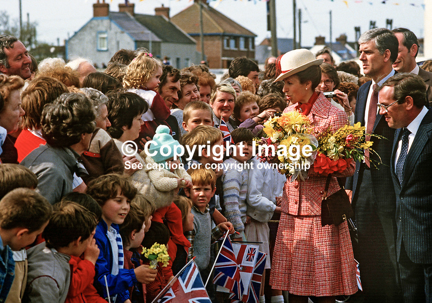 Princess Anne on a May 1985 Royal Visit to N Ireland meets villagers, young and old in the Co Down fishing village of Portavogie. She was there to officially reopen the harbour. 19850502d.<br /> <br /> Copyright Image from Victor Patterson, 54 Dorchester Park, Belfast, UK, BT9 6RJ<br /> <br /> t1: +44 28 9066 1296<br /> t2: +44 28 9002 2446<br /> m: +44 7802 353836<br /> <br /> e1: victorpatterson@me.com<br /> e2: victorpatterson@gmail.com<br /> <br /> www.victorpatterson.com<br /> <br /> IMPORTANT: Please see my Terms and Conditions of Use at www.victorpatterson.com