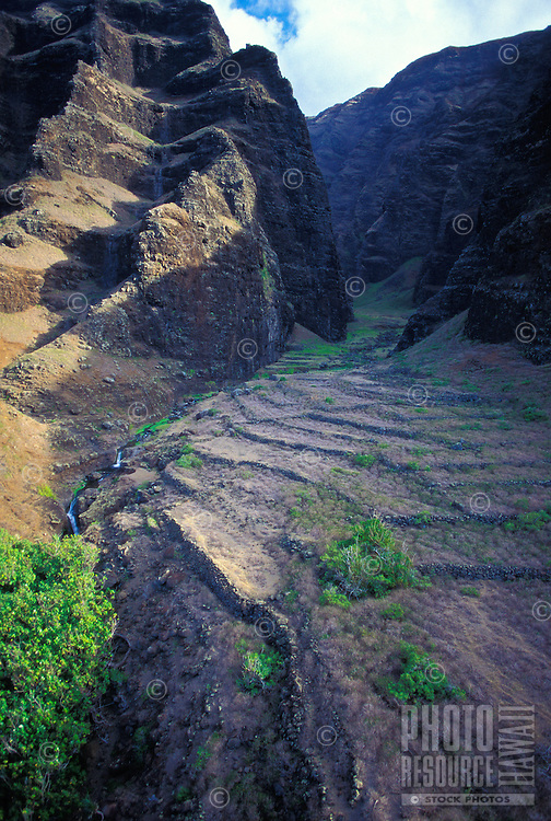 Looking into a valley along the Na Pali coastline with remnants of terracing from a former community