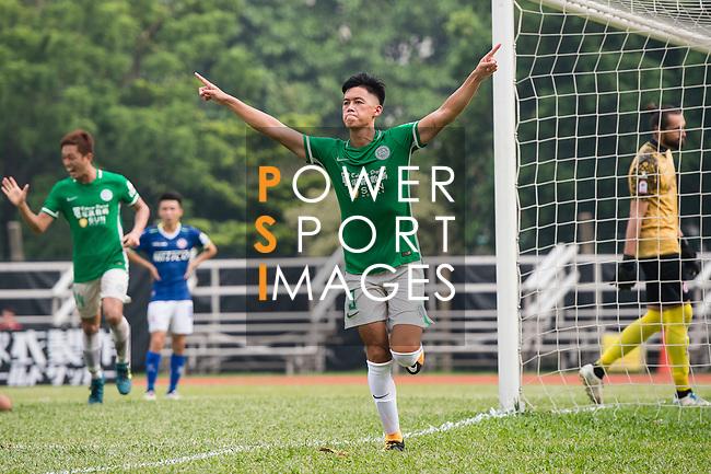 Chun Sing Yuen of Wofoo Tai Po (C) celebrating his score during the week three Premier League match between BC Rangers and Wofoo Tai Po at Sham Shui Po Sports Ground on September 17, 2017 in Hong Kong, China. Photo by Marcio Rodrigo Machado / Power Sport Images