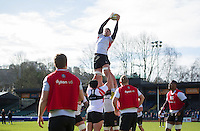 Charlie Ewels of Bath Rugby wins the ball at a lineout. Bath Rugby Captain's Run on February 19, 2016 at the Recreation Ground in Bath, England. Photo by: Patrick Khachfe / Onside Images
