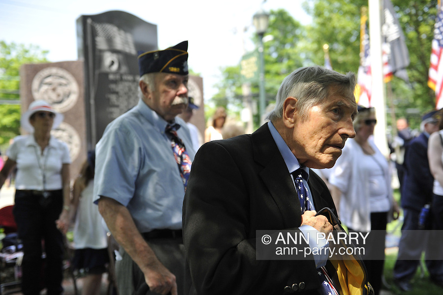 American Legion members and other veterans during the Merrick Memorial Day Ceremony on Monday, May 28, 2012, on Long Island, New York, USA. America's war heroes are honored on this National Holiday.