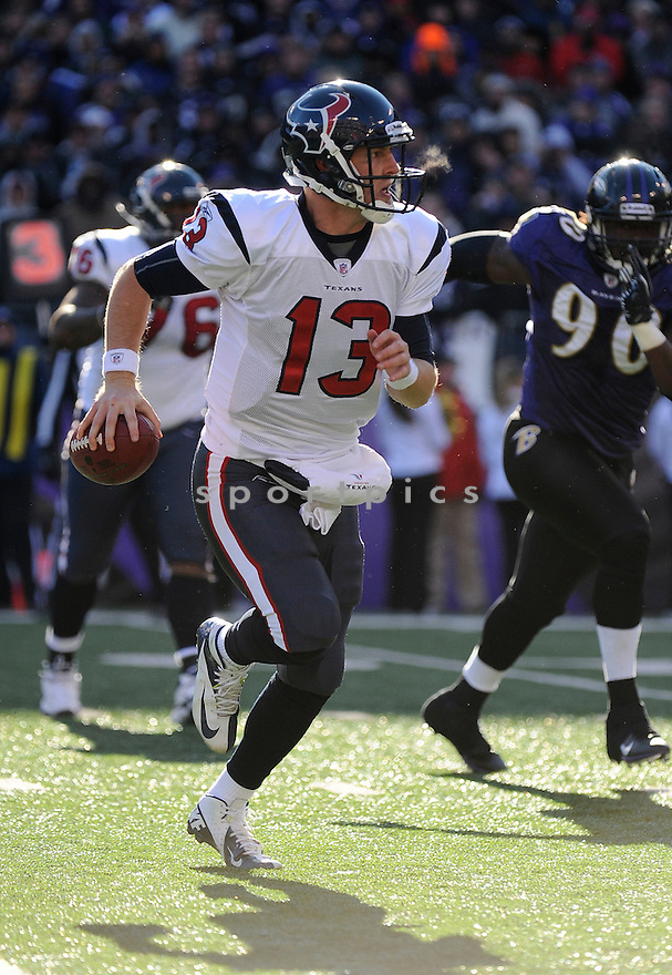TJ YATES, of the Houston Texans, in action during the Texans game against the Baltimore Ravens on January 15, 2012 at M&T Bank Stadium in Baltimore, MD. Baltimore beat Houston 20-13.