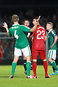 SERIES OF THREE IMAGES  (McAuley reacts) Northern Ireland's Gareth McAuley reacts after  Portugal's  Helder Postiga head butting McAuley  after a confrontation and getting a red card and being sent off during the first half a World Cup Qualifier in Belfast, Friday September 6th, 2013.  Photo/Paul McErlane
