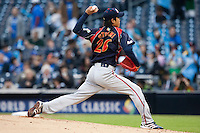 19 March 2009: #26 Tetsuya Utsumi of Japan pitches against Korea during the 2009 World Baseball Classic Pool 1 game 6 at Petco Park in San Diego, California, USA. Japan wins 6-2 over Korea.