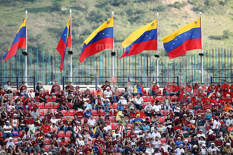 Fussball   International   42. Copa America   Peru - Bolivien          Tribuene des Stadion in Merida mit Fahnen Venezuelas geschmueckt.