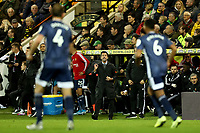 8th November 2019; Carrow Road, Norwich, Norfolk, England, English Premier League Football, Norwich versus Watford; A animated Watford Manager Quique Sanchez Flores - Strictly Editorial Use Only. No use with unauthorized audio, video, data, fixture lists, club/league logos or 'live' services. Online in-match use limited to 120 images, no video emulation. No use in betting, games or single club/league/player publications