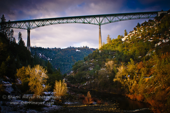 Foresthill Bridge surrounded with a rare dusting of snow.