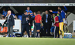 St Johnstone v FC Luzern...24.07.14  Europa League 2nd Round Qualifier<br /> Tommy Wright has a falling out with the FC Luzerne bench<br /> Picture by Graeme Hart.<br /> Copyright Perthshire Picture Agency<br /> Tel: 01738 623350  Mobile: 07990 594431