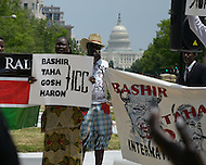 June 4, 2011 (Washington, DC) People gathered at Freedom Plaza in Washington to protest the alleged human rights abuses of the National Congress Party (NCP) of Sudan. According to the United Nations (UN), the Sudan has seen civil conflict for all but 11 of the years since it became independent on  January 1, 1956.  Generations of Sudanese people have experienced the consequences of war. (Photo: Don Baxter/Media Images International)