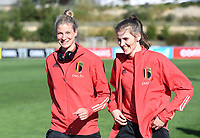 20200307  Parchal , Portugal : illustration picture showing the Belgian players with Belgian Justine Vanhaevermaet (10) and Belgian Marie Minnaert (16) on the pitch prior to thefemale football game between the national teams of Belgium called the Red Flames and Portugal on the second matchday of the Algarve Cup 2020 , a prestigious friendly womensoccer tournament in Portugal , on saturday 7 th March 2020 in Parchal , Portugal . PHOTO SPORTPIX.BE | DAVID CATRY