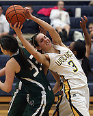 Anna Manilla (3), Clarkston, reaches back for a rebound over the back of Laura Turnbull, Lake Orion, during girls hoops action at Clarkston Friday, Dec. 2, 2011.