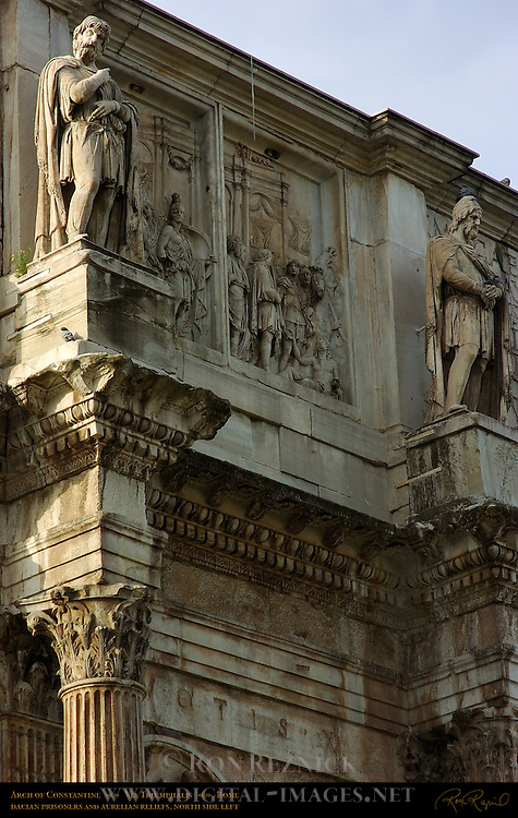 Arch of Constantine 315 AD Dacian Prisoners Aurelian Reliefs North Side left early morning Via Triumphalis Rome