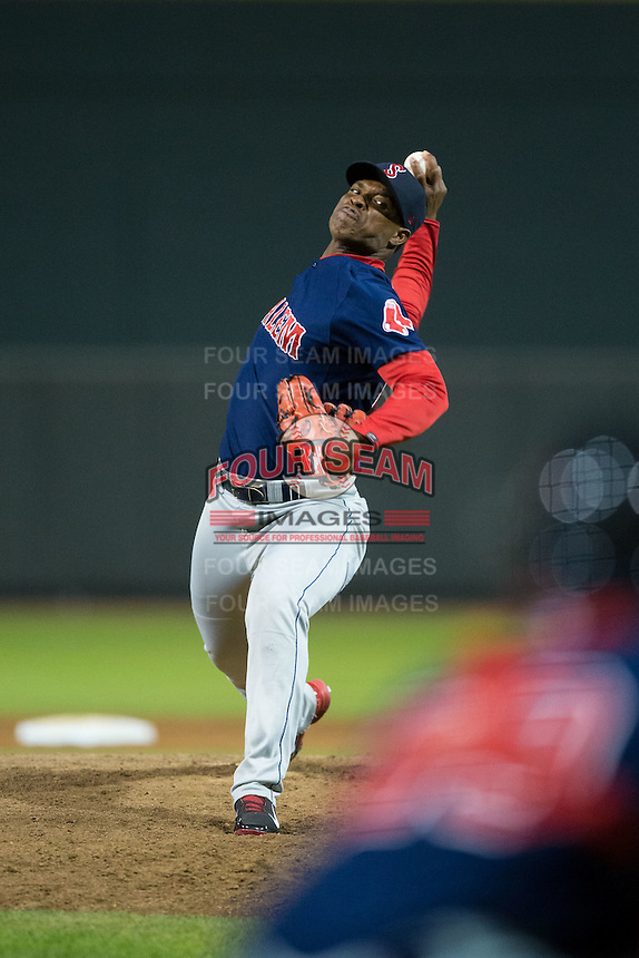 Salem Red Sox relief pitcher Yankory Pimentel (26) in action against the Winston-Salem Dash at BB&T Ballpark on April 15, 2016 in Winston-Salem, North Carolina.  The Red Sox defeated the Dash 3-2.  (Brian Westerholt/Four Seam Images)