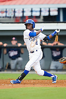D.J. Burt (2) of the Burlington Royals follows through on his swing against the Elizabethton Twins at Burlington Athletic Park on June 25, 2014 in Burlington, North Carolina.  The Twins defeated the Royals 8-0. (Brian Westerholt/Four Seam Images)