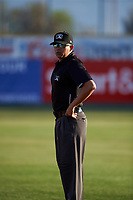 Umpire Gabriel Alfonzo during a California League game between the Visalia Rawhide and the San Jose Giants on April 13, 2019 at San Jose Municipal Stadium in San Jose, California. Visalia defeated San Jose 4-2. (Zachary Lucy/Four Seam Images)
