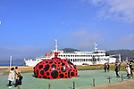 "March 19, 2016, Kagawa, Japan - The ""Red Pumpkin"", an installation art produced by Yayoi Kusama of Japan is displayed at Naoshima island in Kagawa prefecture, Japan's southern island of Shikoku on Friday, March 19, 2016 as a part of Setouchi Triennale 2016. Setouchi Triennale art festival started at islands of Setonaikai mediterranean sea from March 20 through November 6.  (Photo by Yoshio Tsunoda/AFLO) LWX -ytd-"
