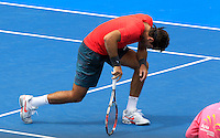 Juan Martin del Potro of Argentina gestures after losing a point to Radek Stepanek of Czech Republic during their men's singles match at the Sydney International tennis tournament, Jan. 9, 2014.  Daniel Munoz/Viewpress IMAGE RESTRICTED TO EDITORIAL USE ONLY
