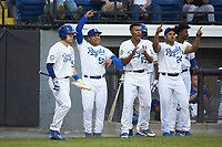 The Burlington Royals bench celebrates during the game against the Johnson City Cardinals at Burlington Athletic Stadium on September 4, 2019 in Burlington, North Carolina. The Cardinals defeated the Royals 8-6 to win the 2019 Appalachian League Championship. (Brian Westerholt/Four Seam Images)