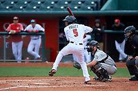 Lansing Lugnuts center fielder Reggie Pruitt (5) during a Midwest League game against the Wisconsin Timber Rattlers at Cooley Law School Stadium on May 1, 2019 in Lansing, Michigan. Wisconsin defeated Lansing 8-3 after the game was suspended from the previous night. (Zachary Lucy/Four Seam Images)