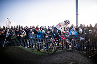 Maghalie Rochette (CAN/Cliff) attacking the pump track<br /> <br /> Azencross Loenhout 2019 (BEL)<br />  <br /> ©kramon