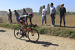 The peloton including Matteo Bono (ITA) UAE Team Emirates on pave sector 29  Troisvilles a Inchy during the 115th edition of the Paris-Roubaix 2017 race running 257km Compiegne to Roubaix, France. 9th April 2017.<br /> Picture: Eoin Clarke | Cyclefile<br /> <br /> <br /> All photos usage must carry mandatory copyright credit (&copy; Cyclefile | Eoin Clarke)