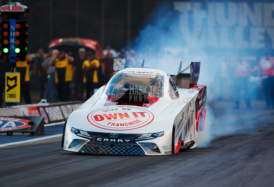 Jun 16, 2017; Bristol, TN, USA; NHRA funny car driver Cruz Pedregon during qualifying for the Thunder Valley Nationals at Bristol Dragway. Mandatory Credit: Mark J. Rebilas-USA TODAY Sports
