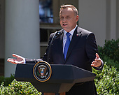 President Andrzej Duda of the Republic of Poland answers reporter's questions as he and United States President Donald J. Trump conduct a joint press conference in the Rose Garden of the White House in Washington, DC on Wednesday, June 12, 2019. <br /> Credit: Ron Sachs / CNP