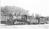 3/4 fireman's-side view of D&amp;RGW #361 with caboose #0589 in Cimarron, CO.<br /> D&amp;RGW  Cimarron, CO  Taken by Kindig, Richard H. - 6/29/1939