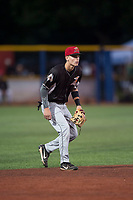 Salem-Keizer Volcanoes shortstop Jett Manning (10) during a Northwest League game against the Hillsboro Hops at Ron Tonkin Field on September 1, 2018 in Hillsboro, Oregon. The Salem-Keizer Volcanoes defeated the Hillsboro Hops by a score of 3-1. (Zachary Lucy/Four Seam Images)