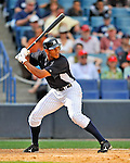 5 March 2011: New York Yankees' outfielder Justin Maxwell in action during a Spring Training game against the Washington Nationals at George M. Steinbrenner Field in Tampa, Florida. The Nationals defeated the Yankees 10-8 in Grapefruit League action. Mandatory Credit: Ed Wolfstein Photo