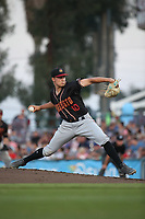 Nick Neidert (10) of the Modesto Nuts pitches against the Inland Empire 66ers at San Manuel Stadium on June 2, 2017 in San Bernardino, California. Inland Empire defeated Modesto, 7-2. (Larry Goren/Four Seam Images)