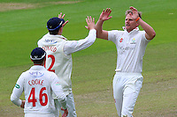 Timm van der Gugten (R) of Glamorgan celebrates taking the wicket of Jaik Mickleburgh during Glamorgan CCC vs Essex CCC, Specsavers County Championship Division 2 Cricket at the SSE SWALEC Stadium on 23rd May 2016