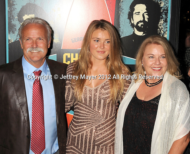 LOS ANGELES, CA - OCTOBER 18: Bob Pearson, Kyla Pearson and family arrive at the 'Chasing Mavericks' - Los Angeles Premiere at Pacific Theaters at the Grove on October 18, 2012 in Los Angeles, California.