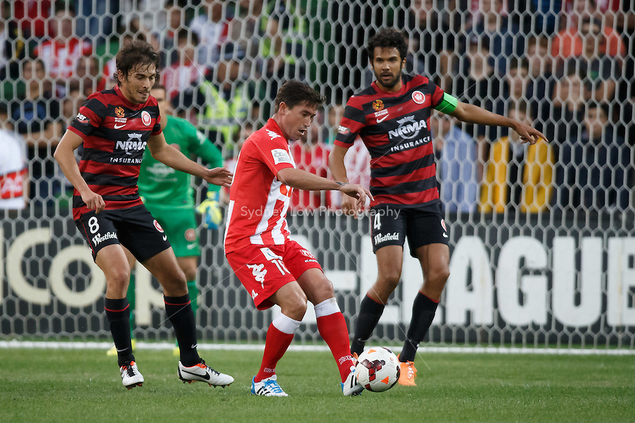 Harry KEWELL of the Heart passes the ball in his final match before retiring in the round 27 match between Melbourne Heart and  the Western Sydney Wanderers in the Australian Hyundai A-League 2013-24 season at AAMI Park, Melbourne, Australia. Photo Sydney Low/Zumapress<br /> <br /> This image is not for sale on this web site. Please visit zumapress.com for licensing