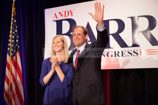 Andry Barr and his wife Elenor Carol after a win at the election watch party at the Marriott Griffin Gate in Lexington, Ky. on Tuesday, Nov. 6, 2012. Photo by Adam Chaffins | Staff