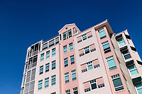 Waterfront resort condominium building overlooking Barefoot Beach, Bonita Springs, Florida, USA.