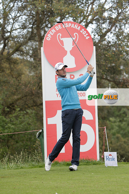 Simon Thornton (IRL) on the 16th tee during Practice Day of The Open De Espana at The PGA Catalunya Resort on Tuesday 13th May 2014.<br /> Picture:  Thos Caffrey / www.golffile.ie