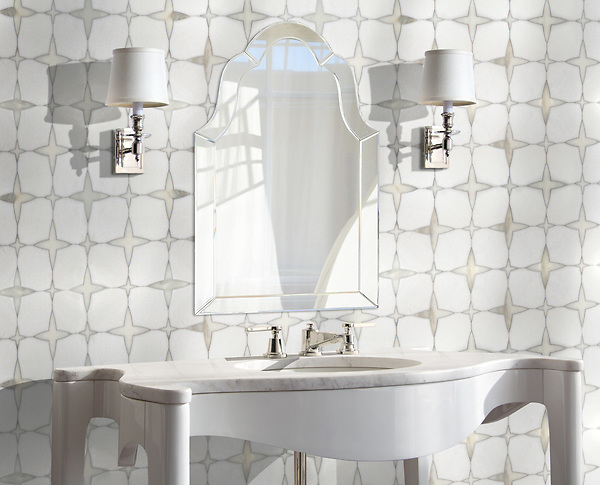 Michael, a waterjet stone mosaic, shown in honed Thassos and polished Calacatta Gold, is part of the Trove® collection for New Ravenna.