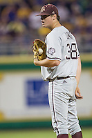 Texas A&M Aggies pitcher Grayson Long (38) looks to his catcher for the sign during a Southeastern Conference baseball game against the LSU Tigers on April 23, 2015 at Alex Box Stadium in Baton Rouge, Louisiana. LSU defeated Texas A&M 4-3. (Andrew Woolley/Four Seam Images)