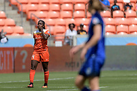 Houston, TX - Saturday May 27, 2017: Nichelle Prince reacts to missing her shot on goal during a regular season National Women's Soccer League (NWSL) match between the Houston Dash and the Seattle Reign FC at BBVA Compass Stadium.