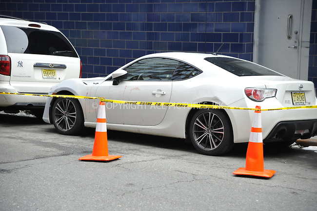 WWW.ACEPIXS.COM<br /> <br /> April 8 2015, New York City<br /> <br /> Police inspect the car of stabbing victim basketball player Chris Copeland outside 1Oak nightclub in Chelsea on April 8 2015 in New York City. <br /> <br /> Copeland, who is a former member of the New York Knicks and is now playing for the Indiana Pacers was stabbed in the abdomen and his wife slashed during an argumen toutside the club,<br /> <br /> <br /> By Line: Curtis Means/ACE Pictures<br /> <br /> <br /> ACE Pictures, Inc.<br /> tel: 646 769 0430<br /> Email: info@acepixs.com<br /> www.acepixs.com